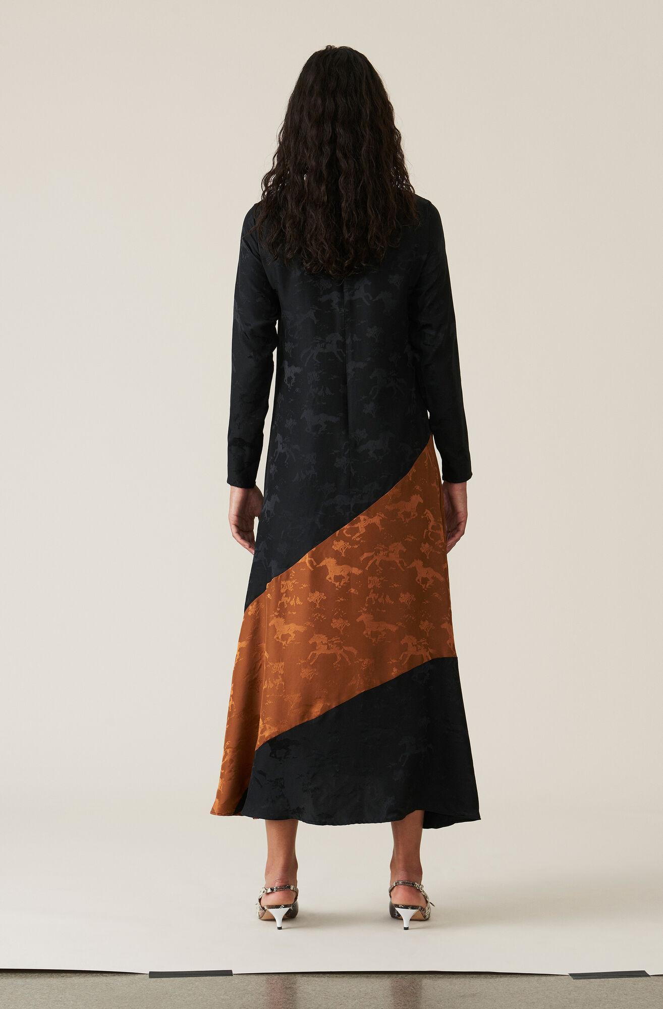 Silk Jacquard Maxiklänning, Black, hi-res