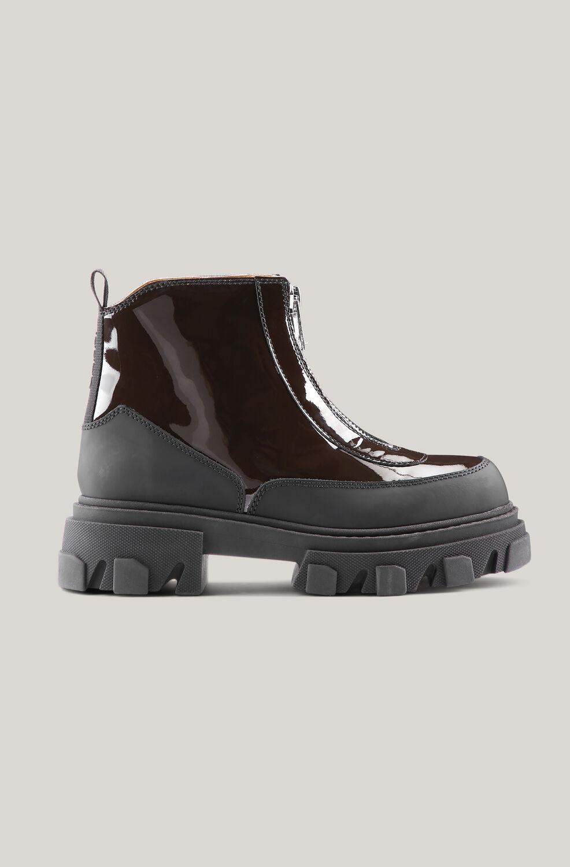 가니 앵클 부츠 Ganni Leather Zip Ankle Boots,Mole