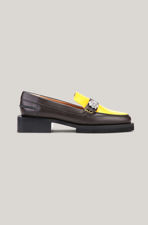 가니 로퍼 Ganni Leather Crystal Embellished Loafers,Spectra Yellow