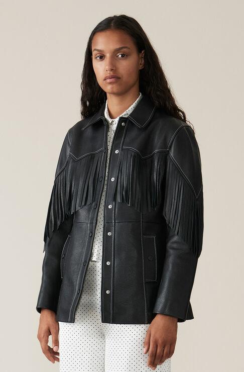 Heavy Leather Jacka, Black, hi-res