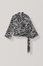 Silk Stretch Satin Wrap Bluse, Ganache, hi-res