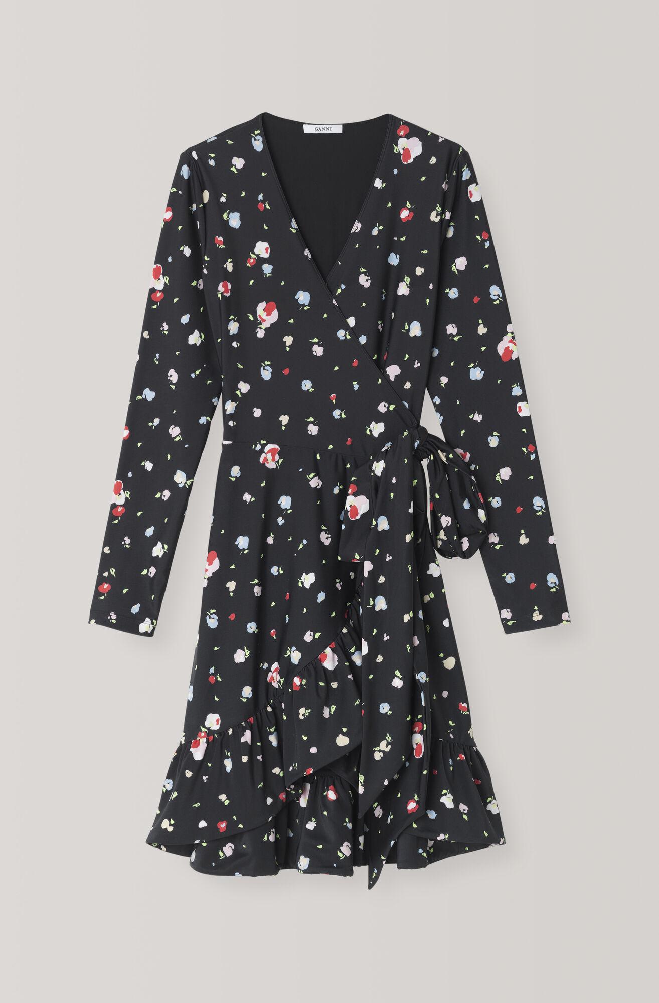 Heavy Jersey Wrap Dress, Black, hi-res