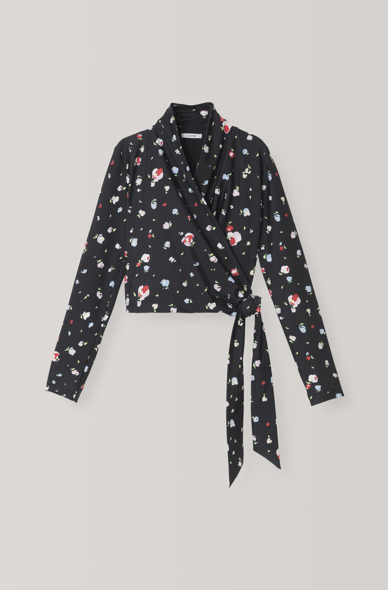 Heavy Jersey Wrap Bluse, Black, hi-res