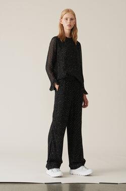 Printed Georgette Pants, Black, hi-res
