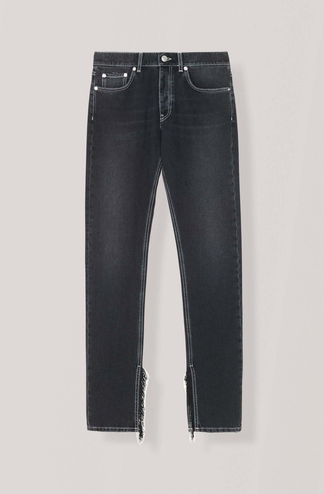 Black Washed Denim Slit Fringe Pants, Black Washed, hi-res