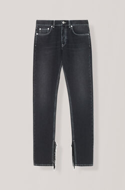 Black Washed Denim Slit Fringe Pants, Black Washed, hi-res
