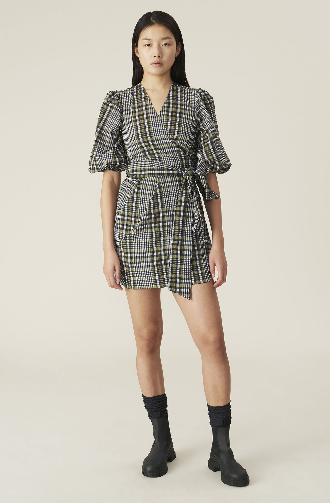 Ganni Seersucker Check Wrap Dress 215 00 Eur Shop Your New