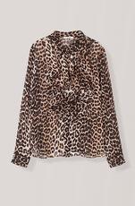 Printed Georgette Skjorte, Leopard, hi-res