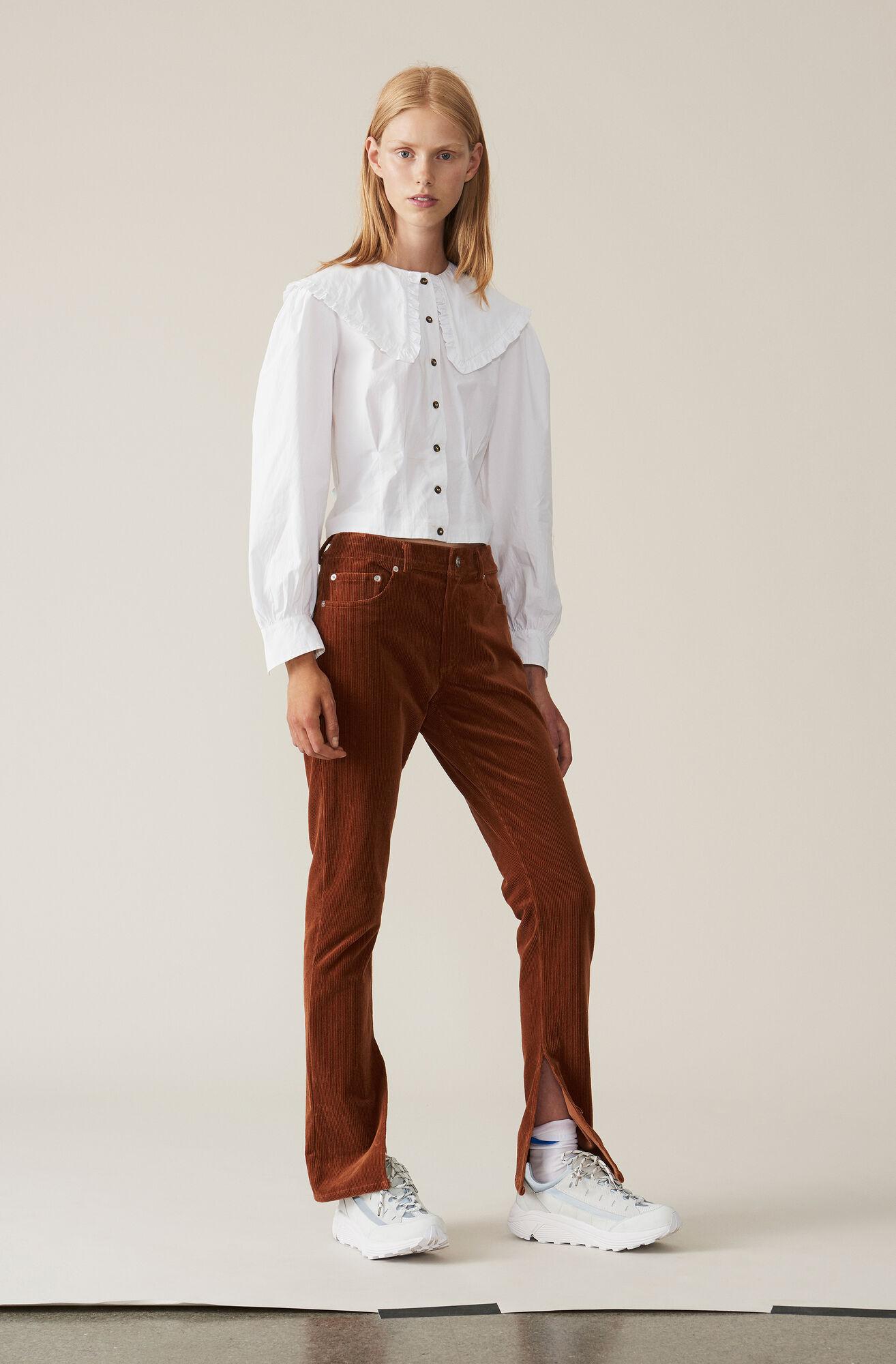 Plain Cotton Poplin Cropped Skjorte, Bright White, hi-res