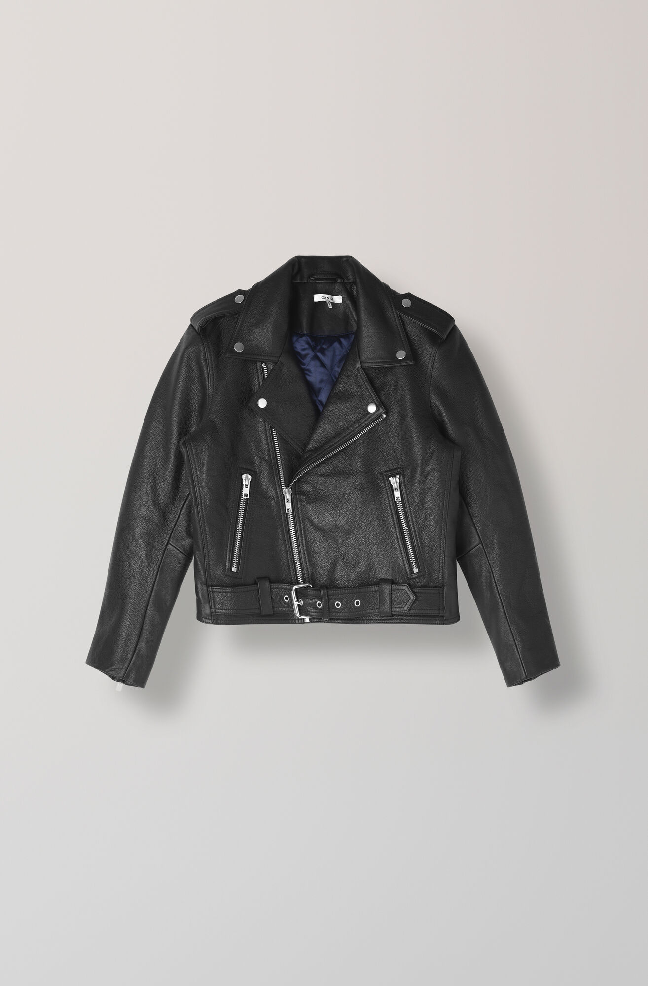 Heavy Leather Biker Jacket, Black, hi-res