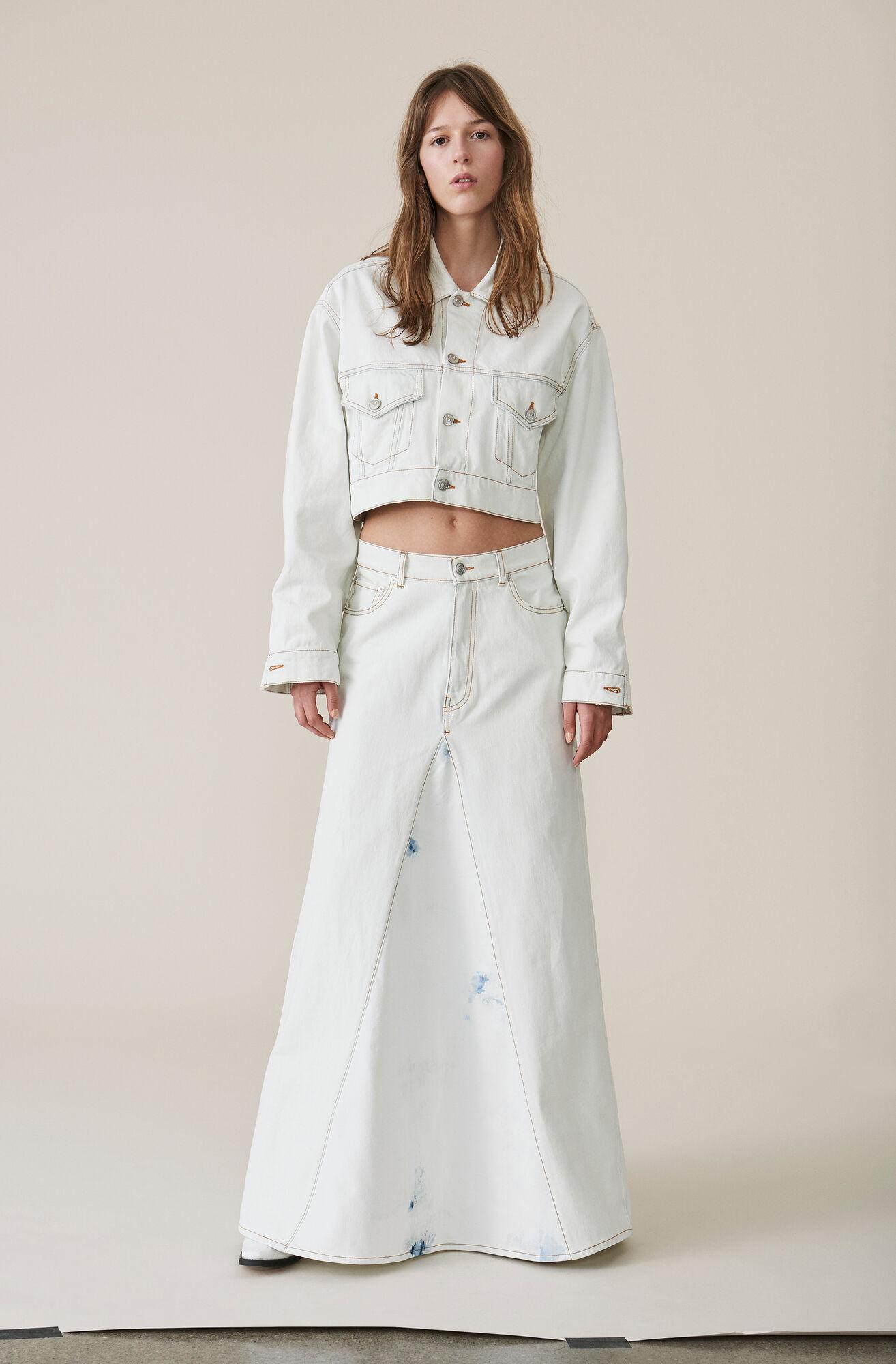 Denim Runway Skirt, Bleach, hi-res