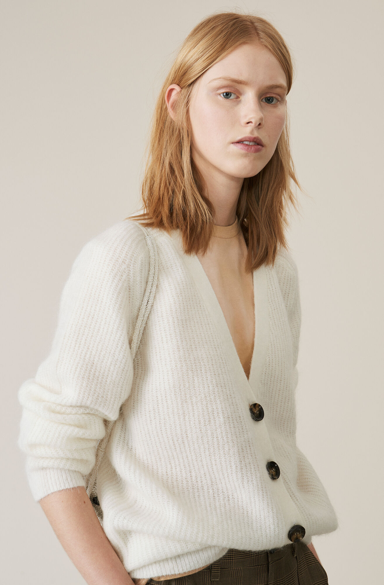 Soft Wool Knit Cardigan, Egret, hi-res