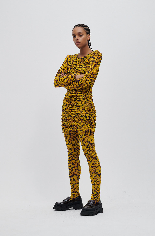 가니 원피스 Ganni Recycled Nylon Ruched Bodycon Mini Dress,Spectra Yellow