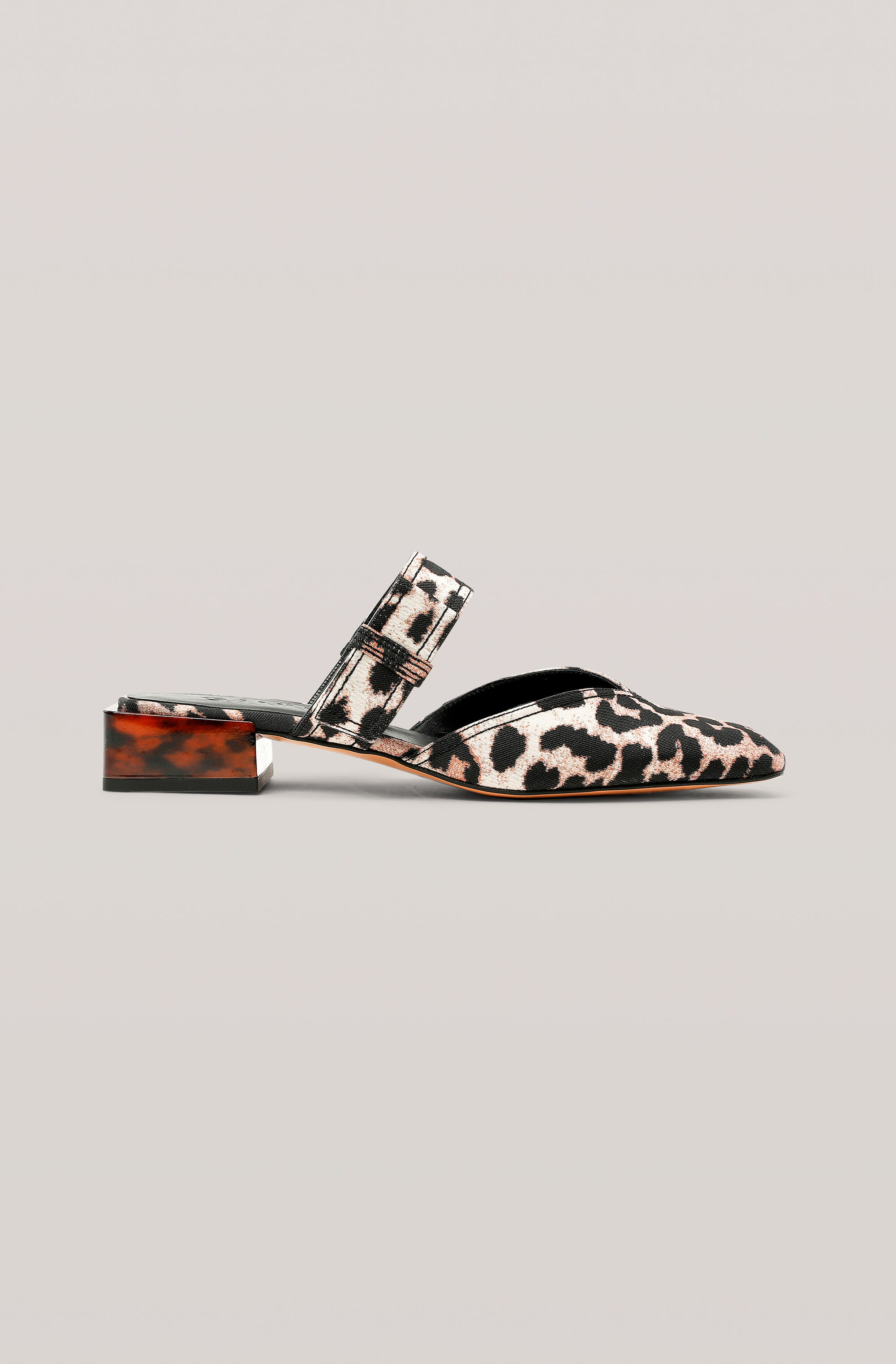 Jacquard Strappy Flat, Polyester, in colour Leopard - 1 - GANNI