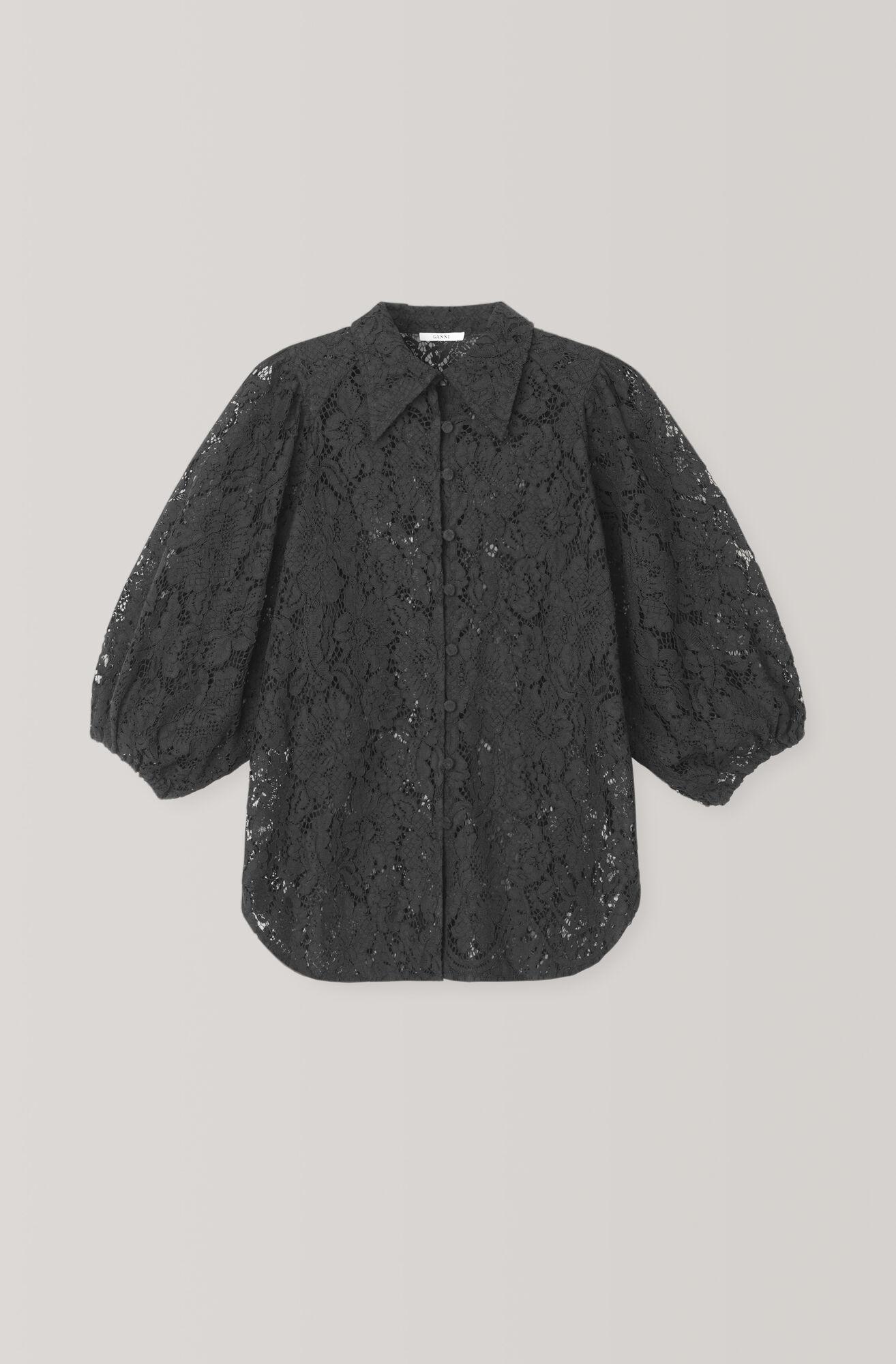 Cotton Lace Skjorte, Black, hi-res
