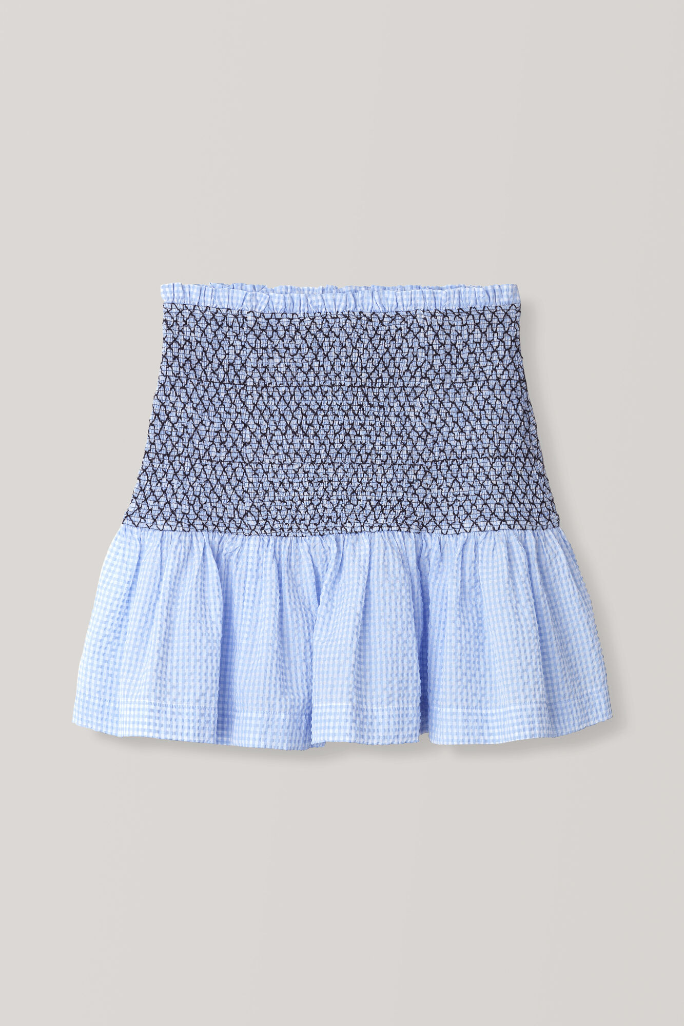 Seersucker Check Skirt, Serenity Blue, hi-res