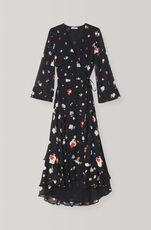 Printed Georgette Wrap Dress, Black, hi-res