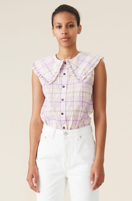 가니 셔츠 Ganni Seersucker Check Sleeveless Shirt,Orchid Bloom