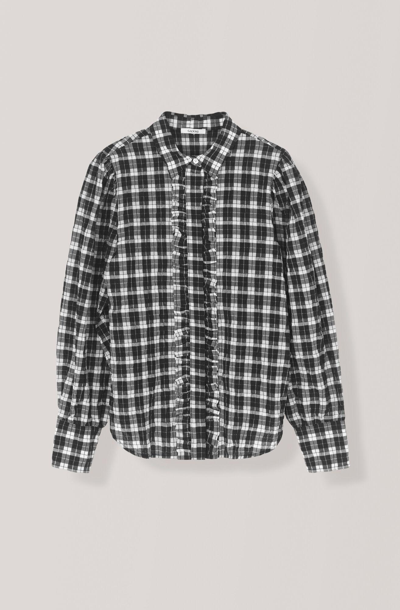 Seersucker Check Shirt, Black, hi-res