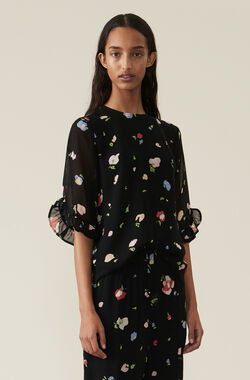 Printed Georgette Blouse, Black, hi-res