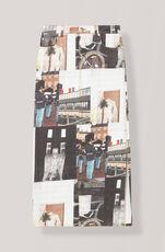Printed Denim Maxi Skirt, Multicolour, hi-res