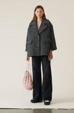 Boucle Wool Oversized Jakke, Ebony Melange, hi-res