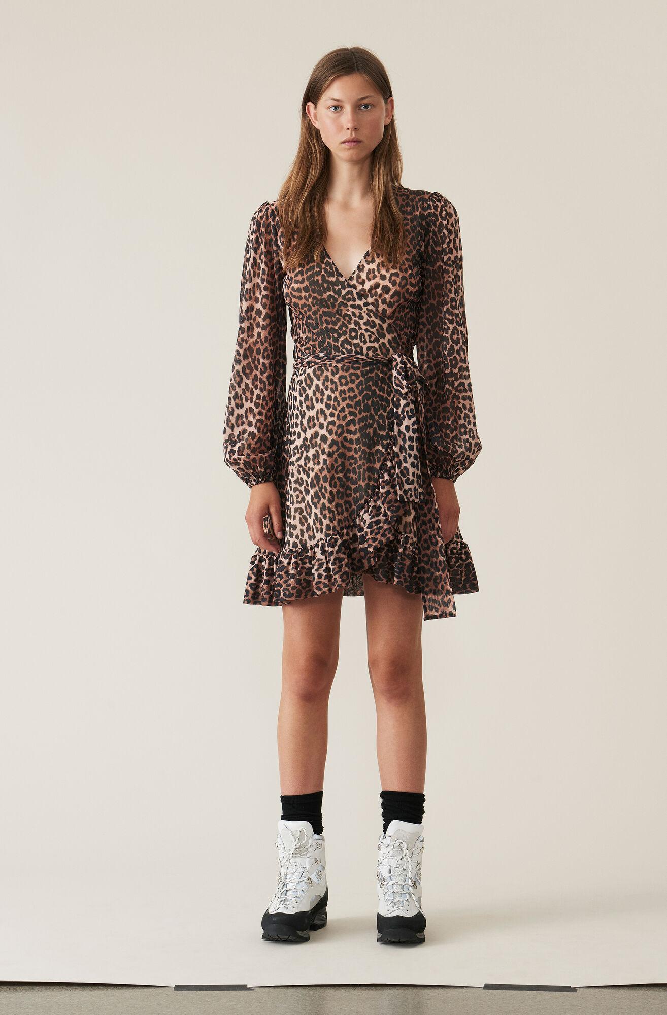 Printed Mesh Wrap Dress, Leopard, hi-res