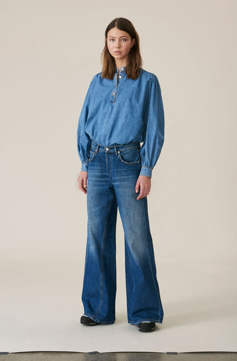 Denim Wide Hose, Medium Dark Denim, hi-res