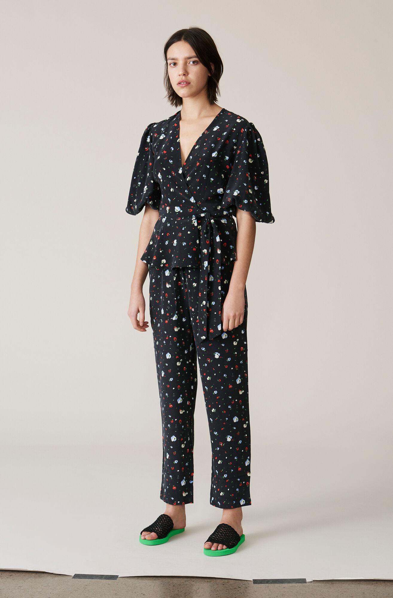 Nolana Silk Pants, Black, hi-res
