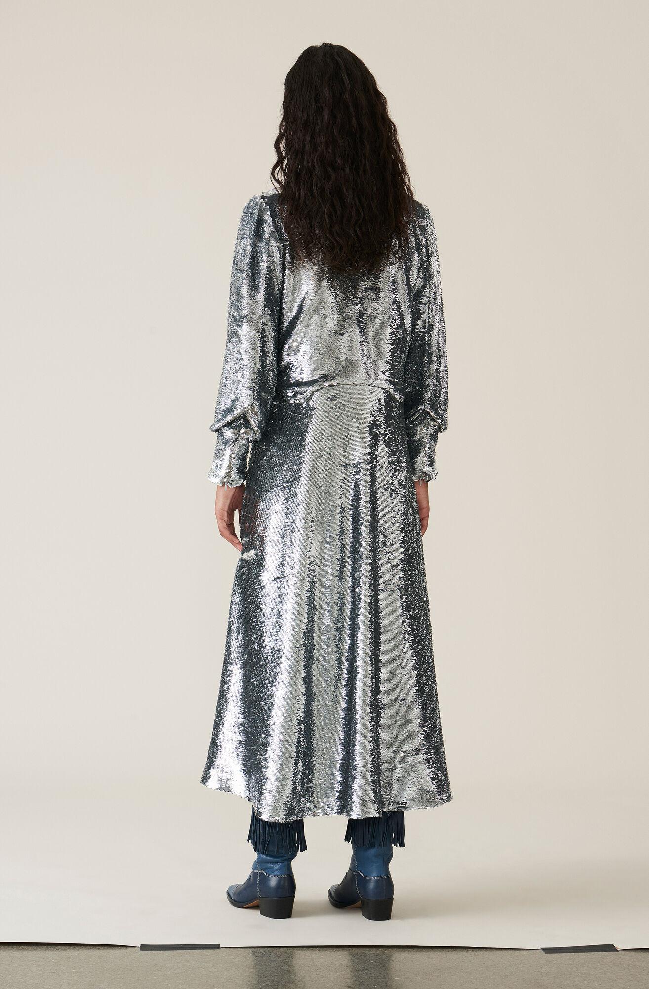 Sequins Kjole, Silver, hi-res