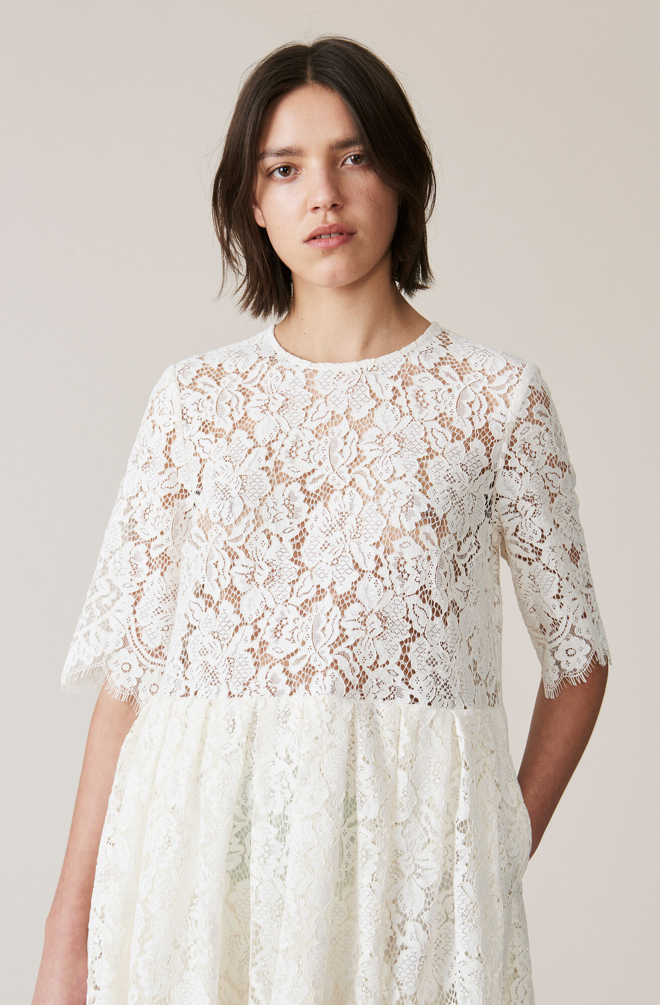 Jerome Lace Dress, Egret, hi-res