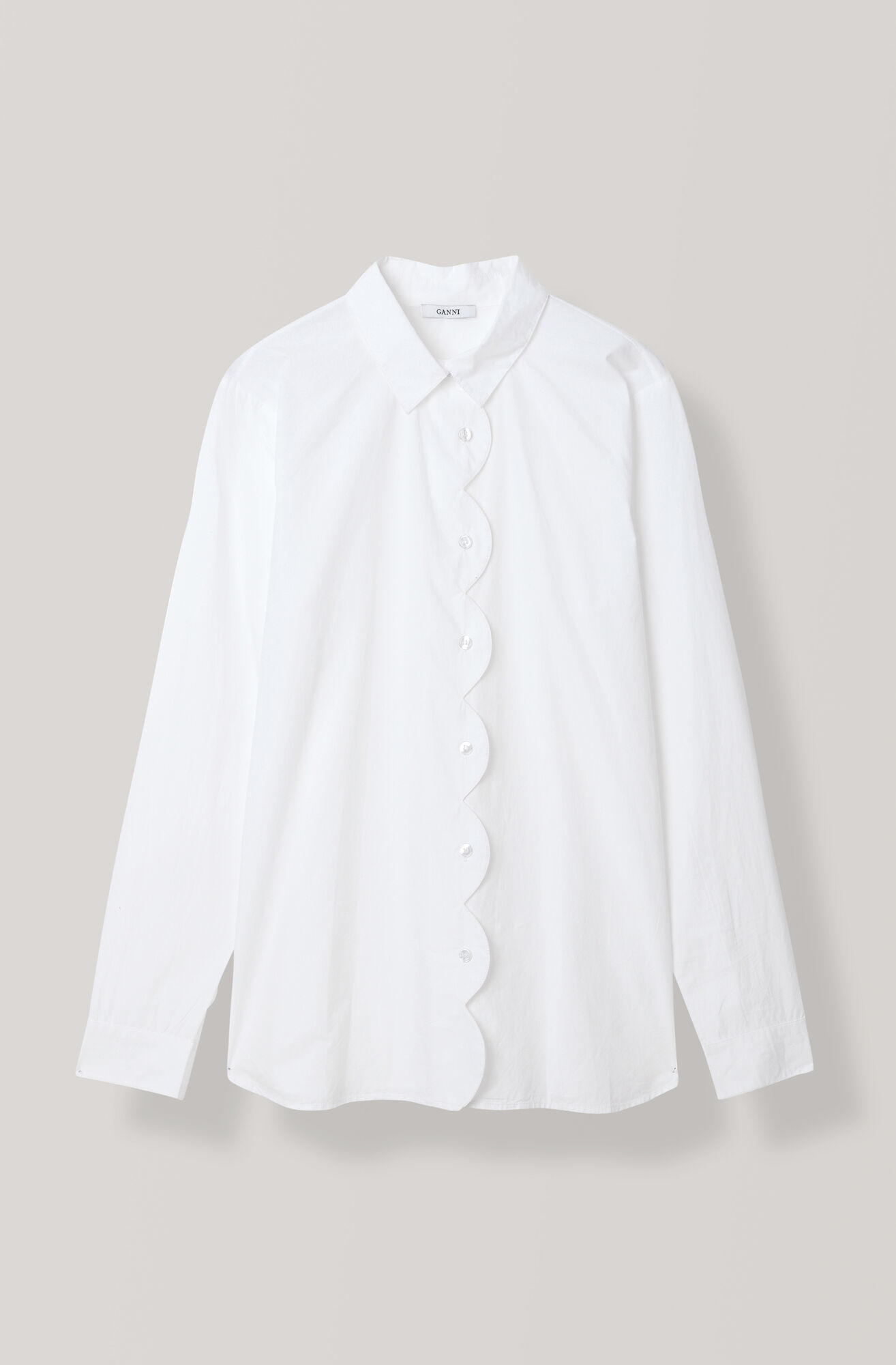 Plain Cotton Poplin Skjorta, Bright White, hi-res