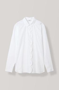 Plain Cotton Poplin Skjorte, Bright White, hi-res