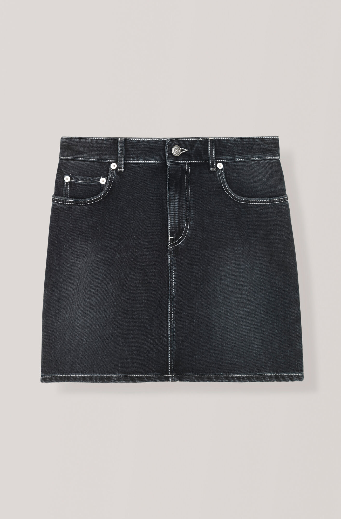 Black Washed Denim Skjørt, Black Washed, hi-res