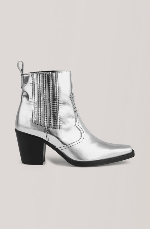 Western Ankle Boots, Silver, hi-res