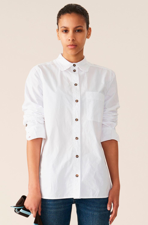 가니 셔츠 Ganni Cotton Poplin Shirt,Bright White