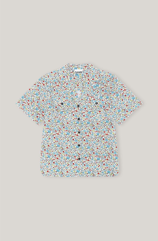 가니 반팔 셔츠 Ganni Organic Cotton Short-Sleeve Shirt,Papyrus