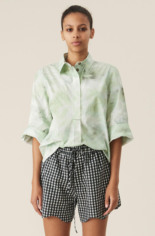 가니 셔츠 Ganni Green Watercolour Cotton Poplin Shirt,Kelly Green