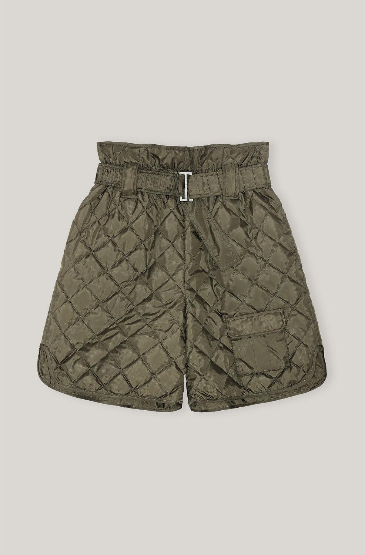 Ganni Quilted Tech Fabric Shorts,Kalamata