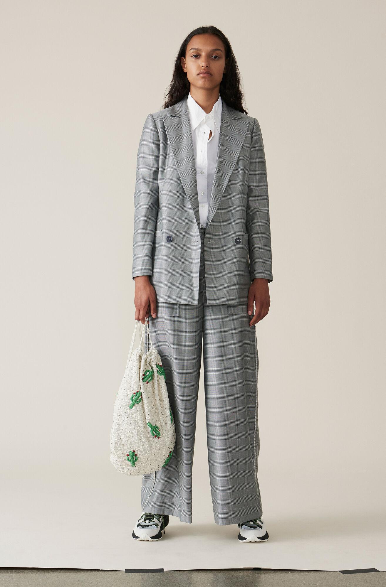 Silk Wool Suiting Breda Byxor, Paloma Melange, hi-res