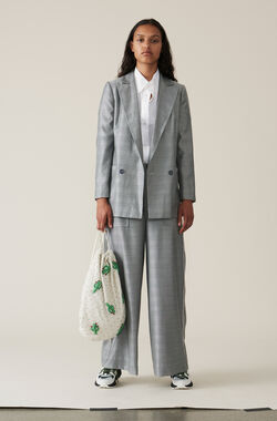 Silk Wool Suiting Wide Pants, Paloma Melange, hi-res