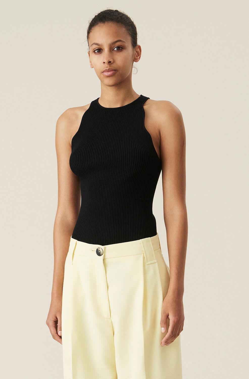 가니 민소매탑 Ganni Melange Knit Top,Black