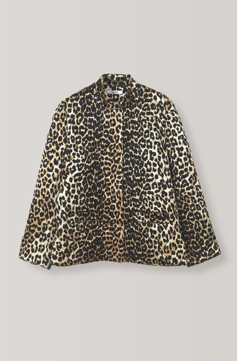 Heavy Satin Jacket, Leopard, hi-res