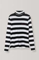 Stripe Rib Rollneck, Black, hi-res