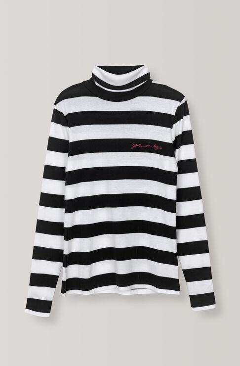 Stripe Rib Rollneck, Black, hi-res