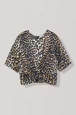 Calla Silk Twist Blouse, Leopard, hi-res