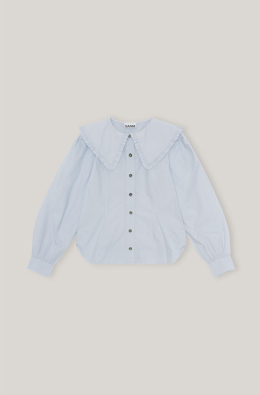 가니 프릴 셔츠 Ganni Cotton Poplin Cotton Poplin Frill Collar Shirt,Heather