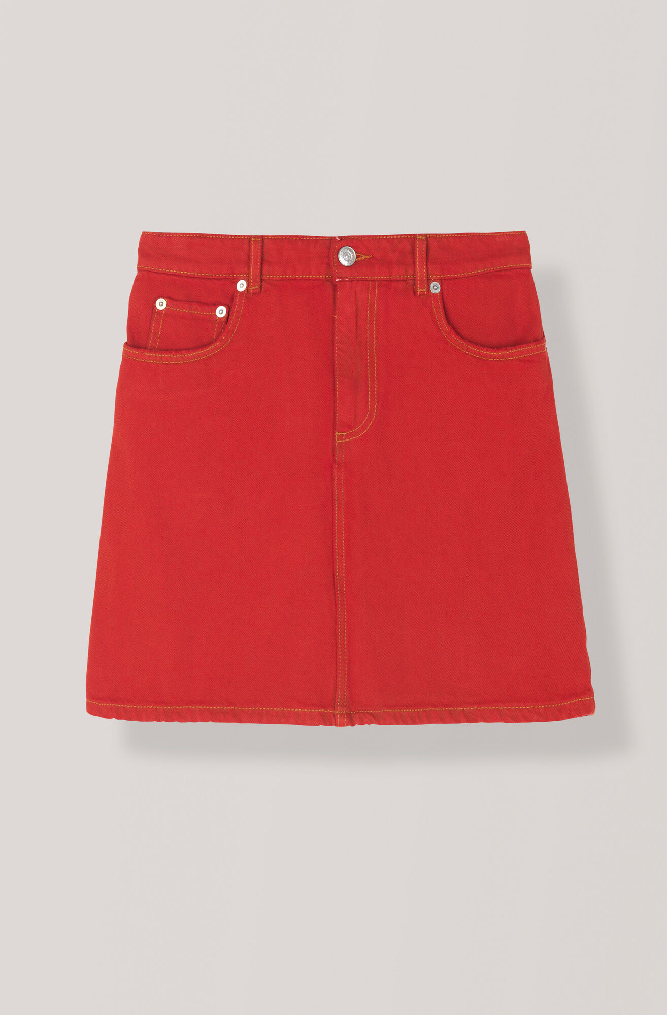 Denim Nederdel, Fiery Red Overdye, hi-res