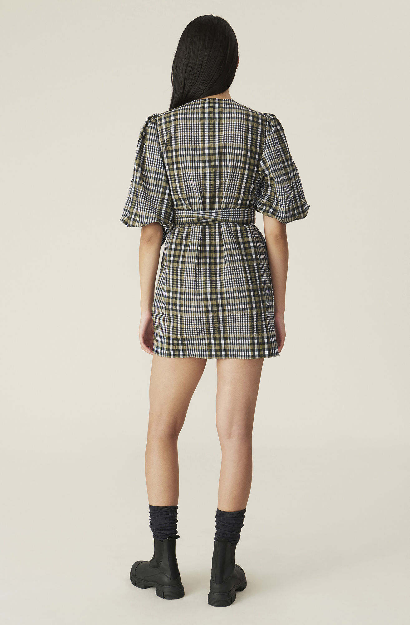Ganni Seersucker Check Wrap Dress 215 00 Eur Shop Your New