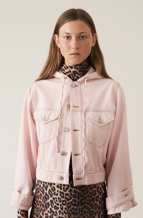Washed Denim Hooded Jacke, Silver Pink Overdyed, hi-res
